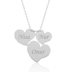 Gumush - Gümüş Üç Kalp İsimli Bayan Kolye