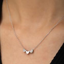 Gümüş Üç Kalp Kolye - Thumbnail