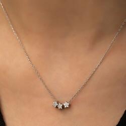 Gümüş Üç Yıldız Kolye - Thumbnail