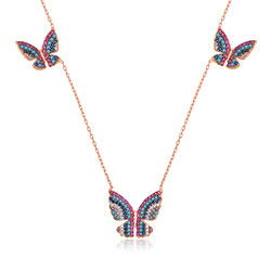 Gumush - Gümüş Uçan Kelebekler Bayan Kolye