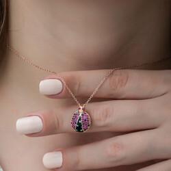 Gümüş Uğur Böceği Bayan Kolye - Thumbnail