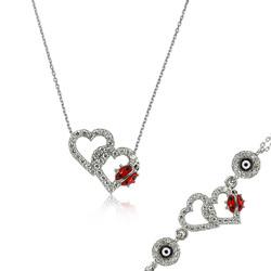 Gumush - Gümüş Uğur Böcekli Kalp Set
