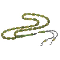 Gumush - Gümüş Püskül Yeşil Kehribar Tesbih