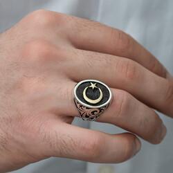 Gümüş Yanları Desenli Ay Yıldız Erkek Yüzük - Thumbnail