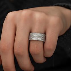 Gümüş Yarım Tamtur Bayan Yüzük - Thumbnail