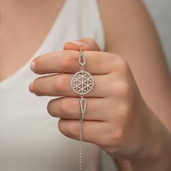 Gümüş Yaşam Çiçeği Bileklik - Thumbnail