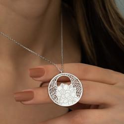 Gümüş Yaşam Çiçeği Kolye - Thumbnail