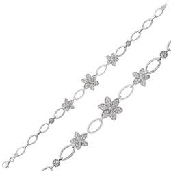 Gumush - Gümüş Çiçekli Bayan Bileklik