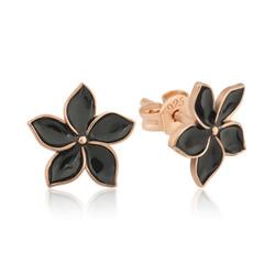 Gumush - Gümüş Siyah Yasemin Çiçeği Çivili Küpe
