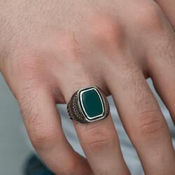 Gümüş Yeşil Akik Taşlı Desenli Erkek Yüzük - Thumbnail