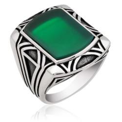 Gumush - Gümüş Yeşil Akik Taşlı Erkek Yüzük