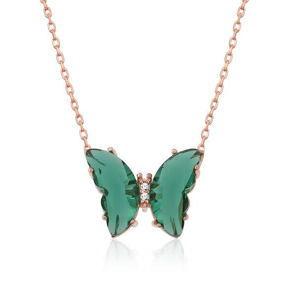 Gümüş Yeşil Cam Kelebek Kolye