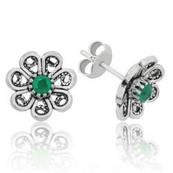 Gumush - Gümüş Yeşil Telkari Çiçek Çivili Küpe