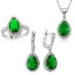 Gumush - Gümüş Yeşil Damla Bayan Set
