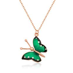 Gumush - Gümüş Yeşil Kelebek Bayan Kolye