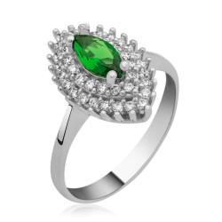 Gumush - Gümüş Yeşil Mekik Bayan Yüzük