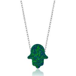 Gumush - Gümüş Yeşil Opal Fatma Ana Eli Bayan Kolye