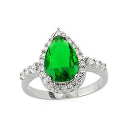 Gumush - Gümüş Yeşil Damla Taşlı Bayan Yüzük