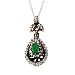 Gumush - Gümüş Yeşil Taşlı Otantik Bayan Kolye