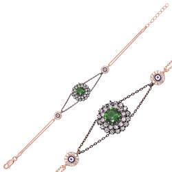 Gumush - Gümüş Yeşil Taşlı Otantik Bayan Bileklik