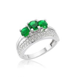 Gumush - Gümüş Yeşil Üç Taş Tria Bayan Yüzük