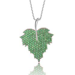 Gumush - Gümüş Yeşil Yaprak Bayan Kolye
