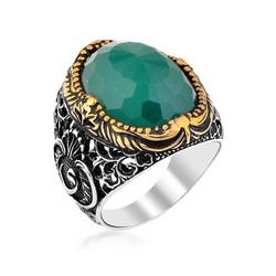 Gumush - Gümüş Yeşil Zirkon Taşlı Erkek Yüzük