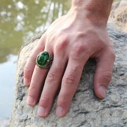 Gumush - Gümüş Yeşil Zirkon Taşlı Erkek Yüzük (1)