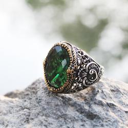 Gümüş Yeşil Zirkon Taşlı Erkek Yüzük - Thumbnail