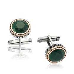 Gumush - Gümüş Yuvarlak Yeşil Taşlı Kol Düğmesi