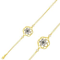 Gumush - Gümüş Sarı Yaşam Çiçeği Bayan Bileklik