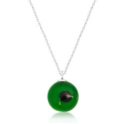 Gumush - Gümüş Yuvarlak Yeşil Camgöz Nazar Bayan Kolye