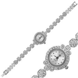 Gumush - Gümüş Zirkon Taşlı Bayan Saat (1)