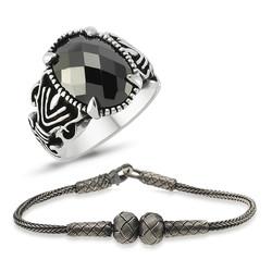 Gumush - Gümüş Yüzük Ve Kazaz Bileklik Erkek Takı Kombin