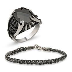 Gumush - Gümüş Yüzük Ve Kazaziye Bileklik Erkek Takı Kombin