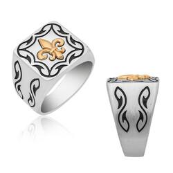 Gumush - Gümüş Zambak Çiçeği Desenli Erkek Yüzük
