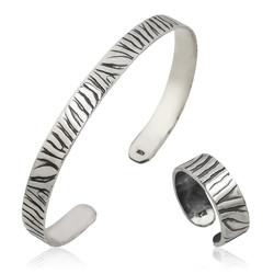 Gumush - Gümüş Zebra Desenli Bileklik Ve Yüzük Set