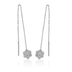Gumush - Gümüş Zincirli Kar Tanesi Küpe
