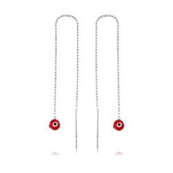 Gumush - Gümüş Zincirli Kırmızı Nazar Küpe