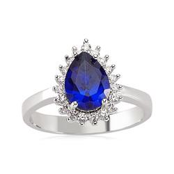 Gumush - Gümüş Mavi Taşlı Damla Bayan Yüzük