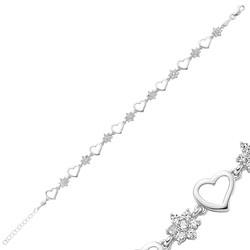 Gumush - Gümüş Çiçek Kalp Bayan Bileklik