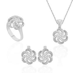 Gumush - Gümüş Çiçek Desenli Bayan Set