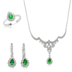 Gumush - Gümüş Yeşil Taşlı Damla Bayan Set