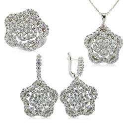 Gumush - Gümüş Zirkon Taşlı Çiçek Bayan Set