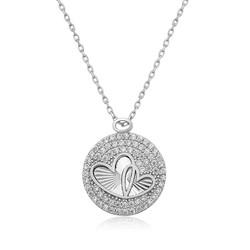 Gumush - Gümüş Zirkon Taşlı İki Kalp Bayan Kolye