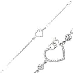 Gumush - Gümüş Kalpli Tek Taş Bayan Bileklik