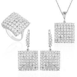 Gumush - Gümüş Zirkon Taşlı Kare Set