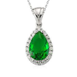 Gumush - Gümüş Yeşil Taşlı Damla Bayan Kolye