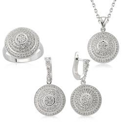 Gumush - Gümüş Zirkon Taşlı Bayan Set