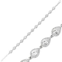 Gumush - Gümüş Beyaz Taşlı Su Yolu Bayan Bileklik